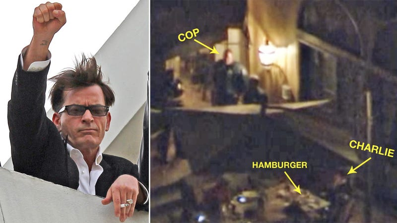 Charlie Sheen Eats a Hamburger in the Dark While Police Raid His House