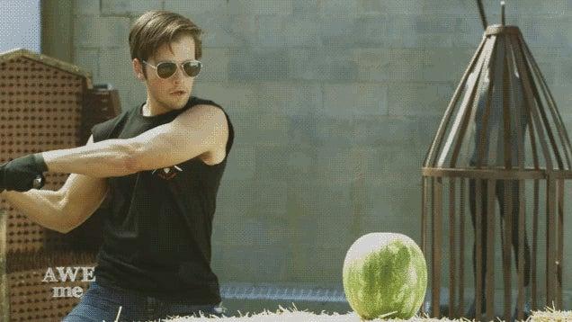 reallife sword art online blade cuts watermelons not bosses