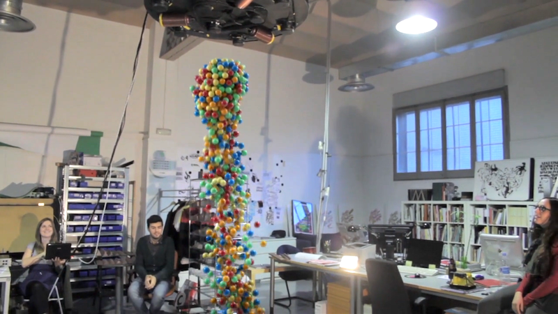Ball Pit Turned into Levitating Rainbow Column