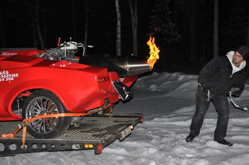 Jet-powered Lamborghini Countach fails to launch on Swedish ice