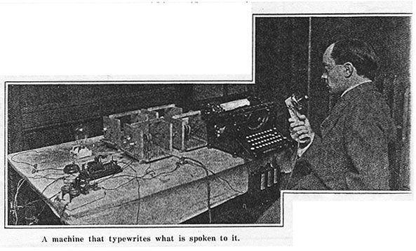 A Machine That Types What Is Spoken To It, 1913