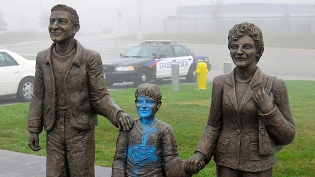 Somebody Defaced Two Wayne Gretzky Sculptures