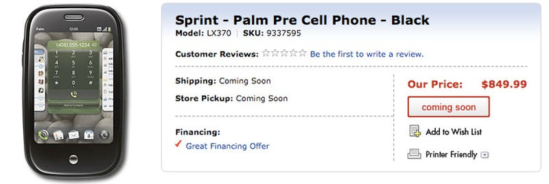 Palm Pre Listed on Best Buy's Site for a Whopping $850