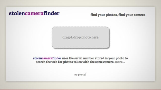 StolenCameraFinder Locates Your Stolen Camera by Using Your Existing Photos