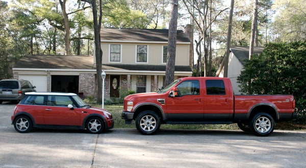 Mini Cooper Small, Ford F-350 FX4 Crew Cab Big