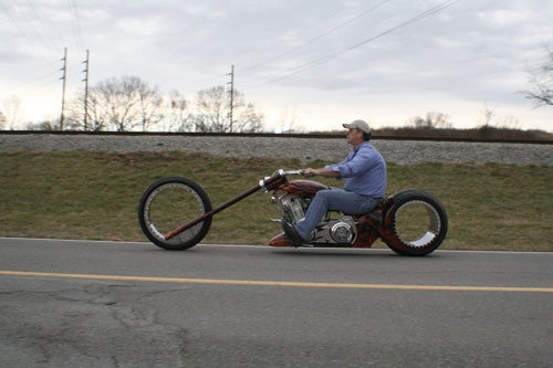 Hubless Monster Motorcycle Rolls Without Spokes