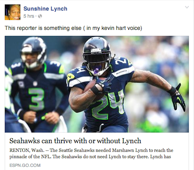 "Marshawn Lynch's Mom: ""REPORTERS DON'T THINK, THEY GUESS"""