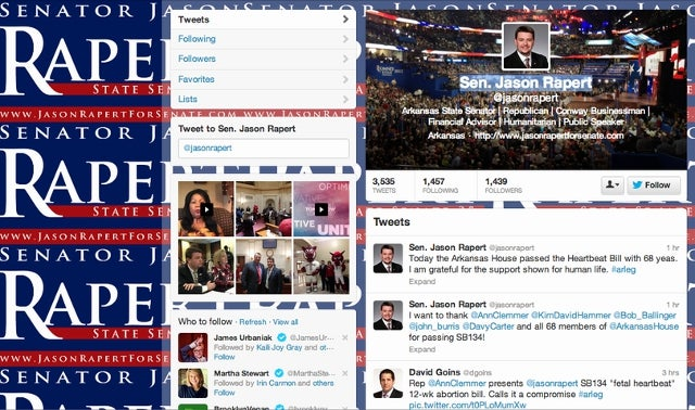 Arkansas State Senator Jason Rapert Should Probably Change His Twitter Background So It Doesn't Say 'Rape' a Bunch of Times