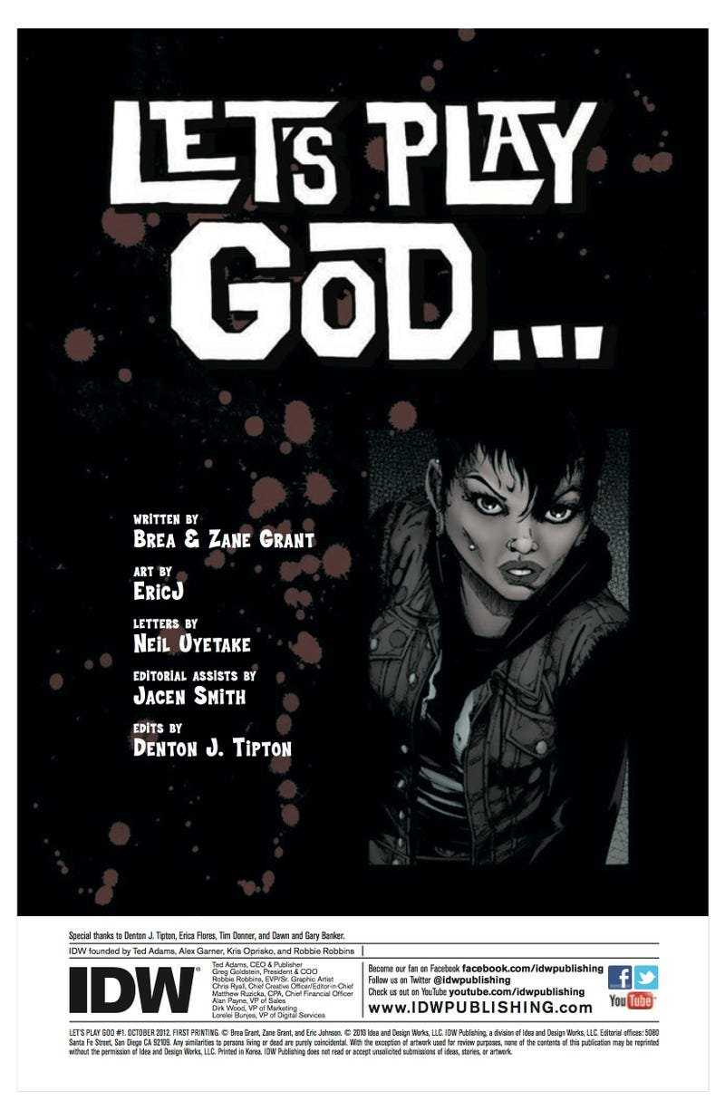 A sneak peek at IDW Publishing's latest horror comic, Let's Play God