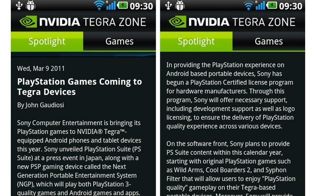 PlayStation Suite to Be Available On Tegra-Based Android Devices