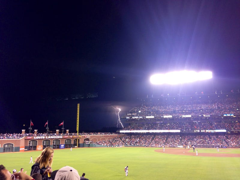 Fan Captures Lightning Strike Outside Giants Game