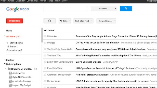 Most Popular RSS Newsreader: Google Reader