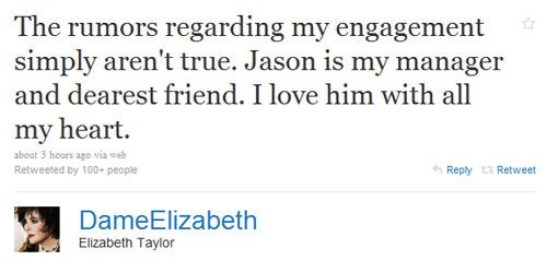Elizabeth Taylor Denies Engagement Rumors on Twitter