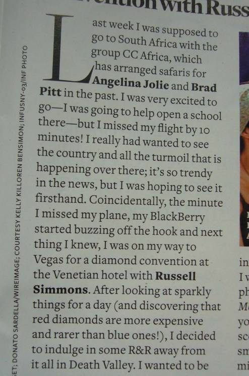 Page Six Mag: African Suffering Is Trendy. Hey Look, Diamonds!