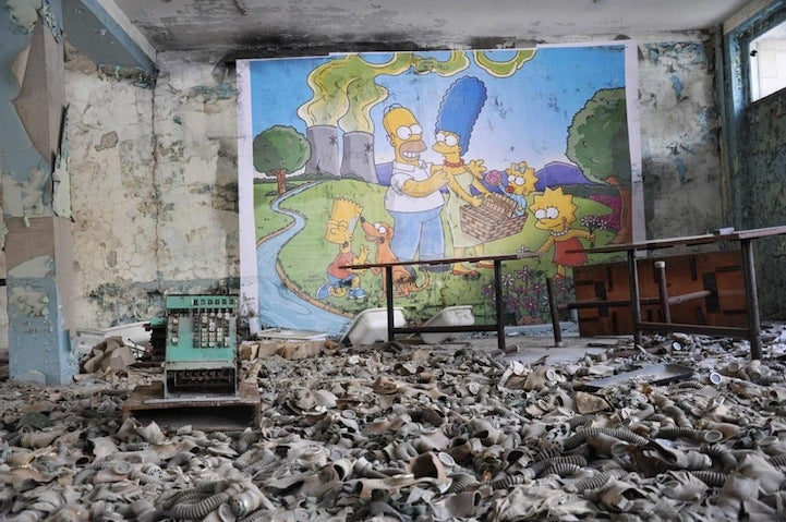 The Simpsons are having a great time in Chernobyl