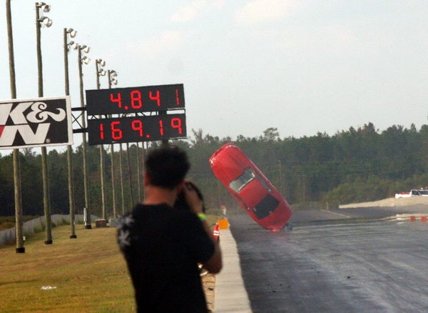 Mustang Dragster Rockets Into Air, Falls On Ass