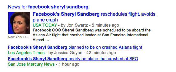 Sheryl Sandberg Successfully Makes SF Plane Crash About Herself