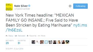 Nate Silver Trolls Marihuana Users on Twitter