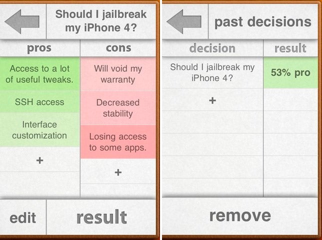 inDecision Lays Out Pros and Cons of a Decision on Your iPhone