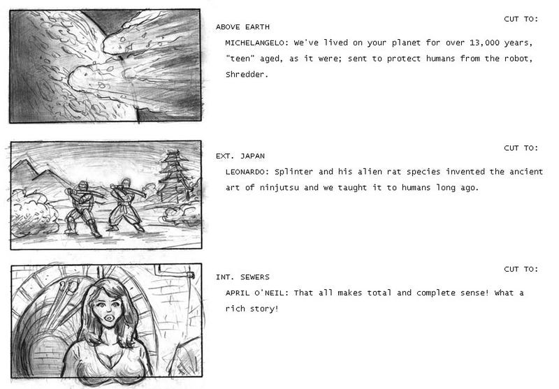 Storyboard comic predicts Michael Bay's explosive Ninja Turtles cheese