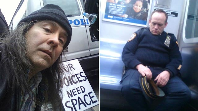 Snoozing NYPD Cop Busted By Occupy Wall Street-er