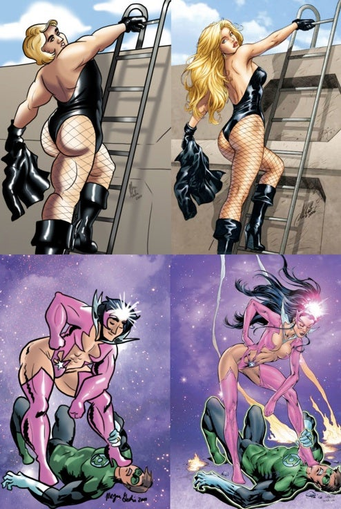Artist puts large men in skimpy superheroine costumes, comedy ensues