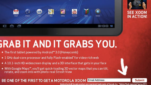 Motorola Xoom Tablet Won't Have Flash at Launch