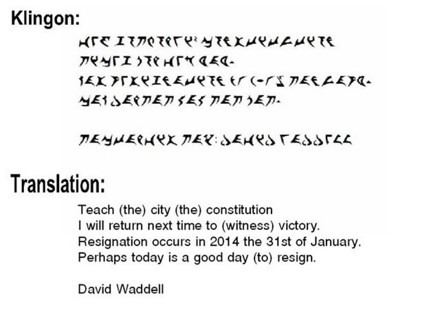 City Councilman Quits His Post, Writes Resignation Letter in Klingon