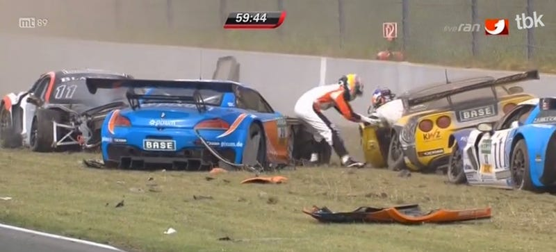 Watch These Kind Racers Rush To Help Each Other After Massive Crash