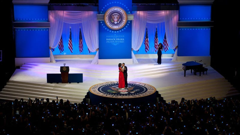 A Sea of Cell Phones, Snapping Pics of the First Couple During the Inaugural Slow Dance
