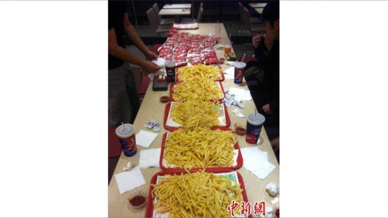 In China, Some Kids Held a French Fry Eating Battle to Relieve Stress