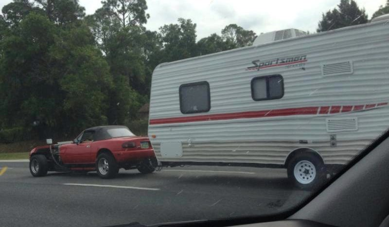 Here Is A V16 Miata Pulling A Mobile Home