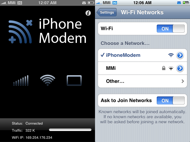 iPhone Modem Tethers Jailbroken iPhones
