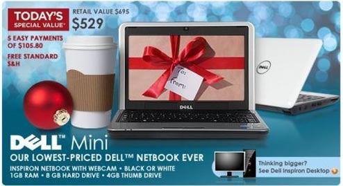 QVC Selling Dell Mini 9 for 'Only' $70 Over List