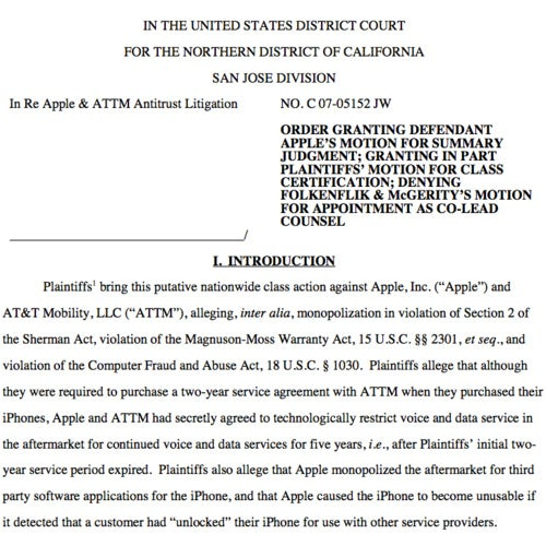 Lawsuit Accusing Apple and AT&T of an iPhone Monopoly Granted Class-Action Status