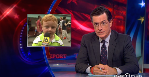"""Stephen Colbert: Apparently Kid Is a """"Natural Born Newsman"""""""