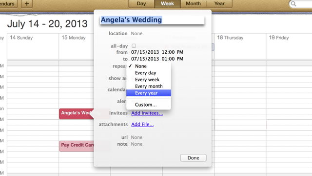 Mark Weddings as Recurring Events to Remember Anniversaries