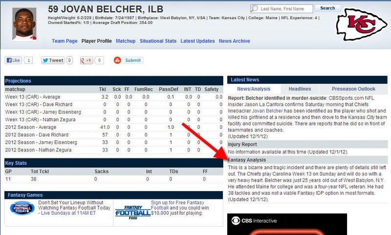 CBS Fantasy Football Analysts Have A Few Thoughts On The Death Of Jovan Belcher