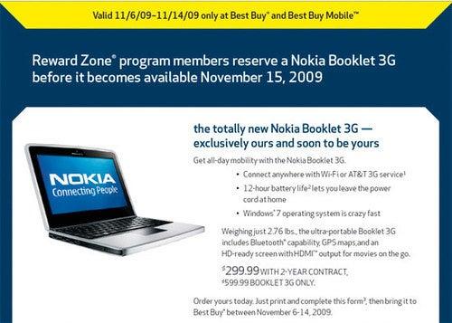 Nokia Booklet 3G Landing November 15 at Best Buy