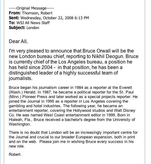WSJ Moves Key Editor To London