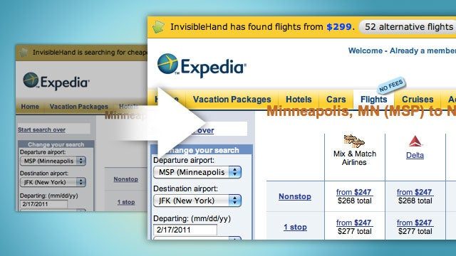 InvisibleHand Alerts You When It Finds Cheaper Airfare