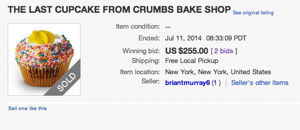 Some Fool Paid $255 For the Last Crumbs Cupcake