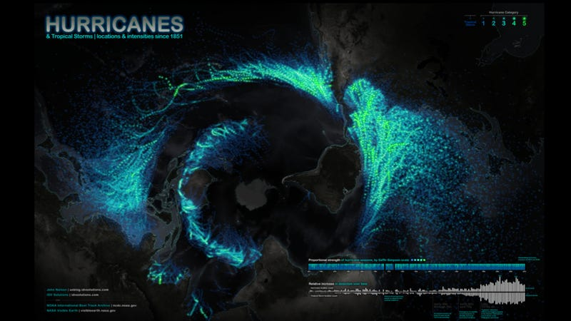 This gorgeous world map depicts all of Earth's hurricanes since 1851