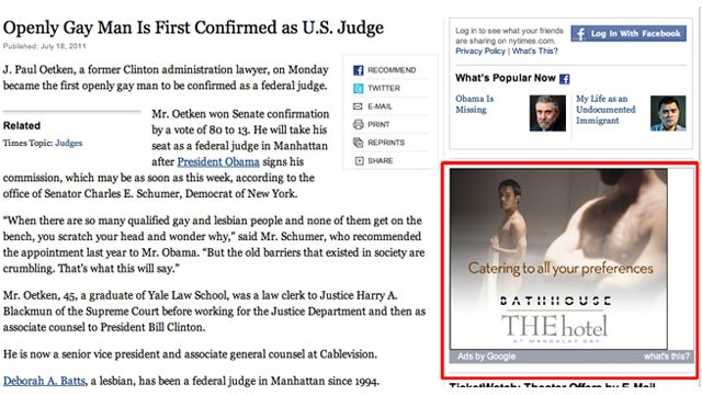NY Times Story on First Gay Federal Judge Complemented by Tasteful Bathhouse Ad