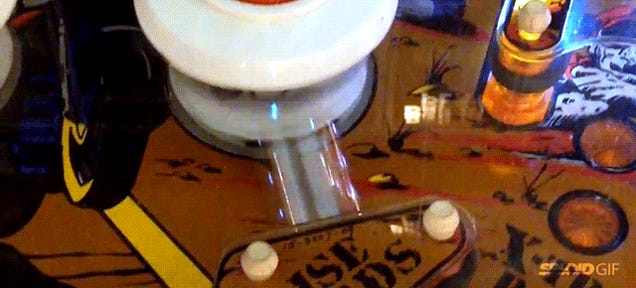 Magic pinball gets perfectly stuck between a bumper and kicker forever