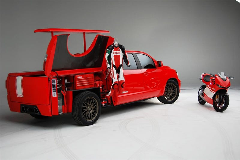 Toyota Brings A Ducati To SEMA Via Big Red Custom Tundra