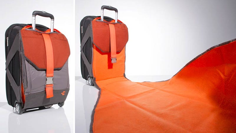Built-In Suitcase Blanket Gives You a Clean Place to Sit in Airports or Anywhere