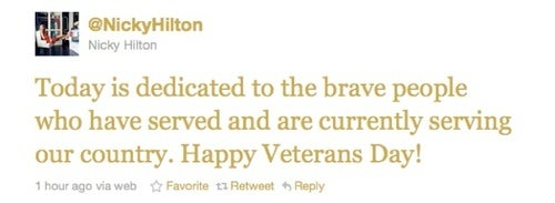 Today's Celebrity Twitter Chatter: Saluting Our Veterans