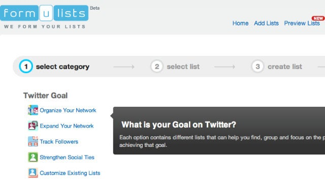 Formulists Organizes Your Twitter Lists and Expands Your Twitter Network