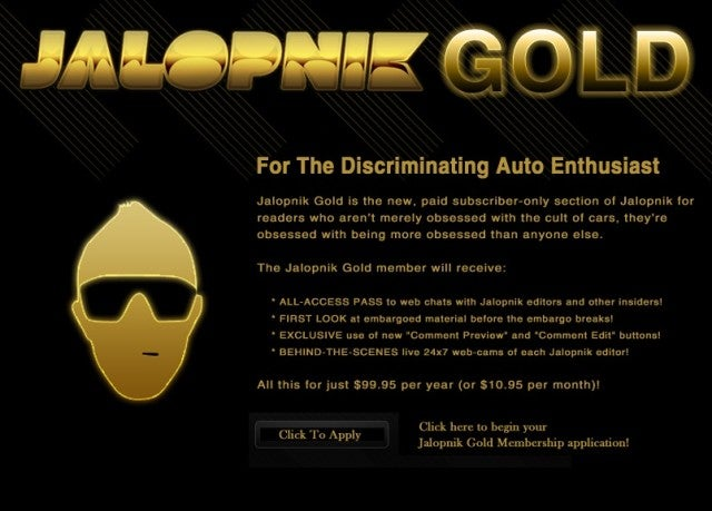 Jalopnik Gold Memberships have Lapsed